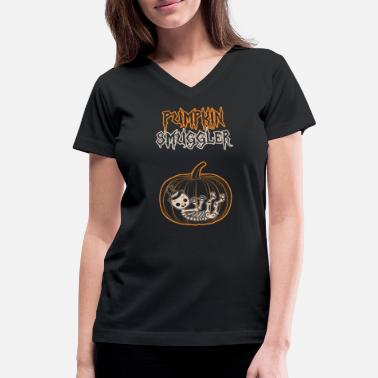 Smuggler Halloween Pregnancy Pumpkin Smuggler - Women's V-Neck T-Shirt