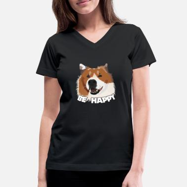 Be Happy Dog - Women's V-Neck T-Shirt