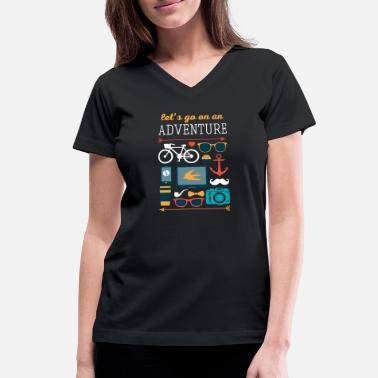 Travel Let's go on an adventure Traveling T Shirt - Women's V-Neck T-Shirt