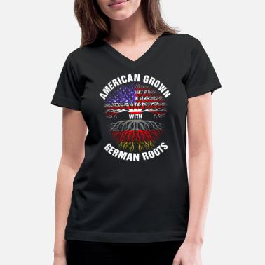 American Grown German Roots American Grown German Roots - Women's V-Neck T-Shirt