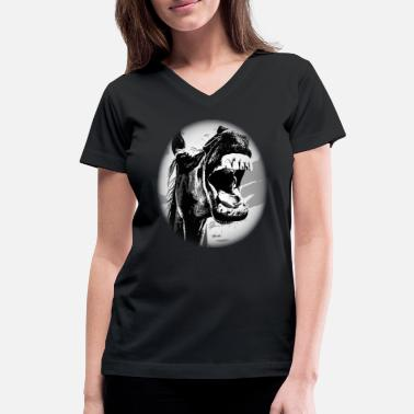 Horse, horse head, ride, foal, mane, saddle - Women's V-Neck T-Shirt