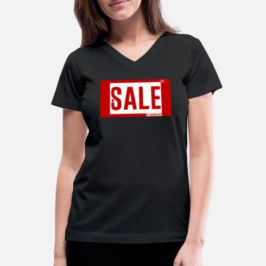 Reds Mode Sale by Shawn West Mode Trend RED WHITE - Women's V-Neck T-Shirt