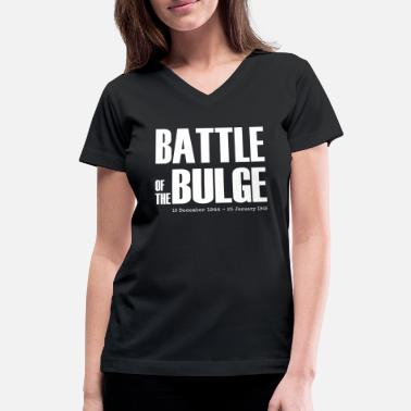 Bulge Battle of the Bulge (White) - Women's V-Neck T-Shirt