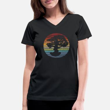 Japanese Art Bonsai Tree Retro - Women's V-Neck T-Shirt