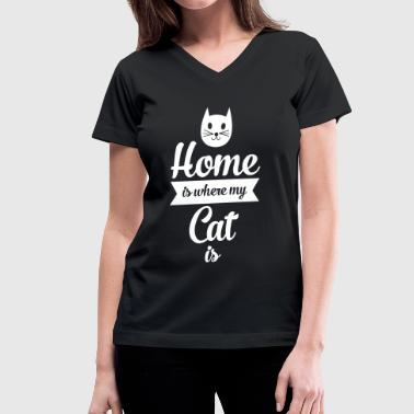 Home Is Where My Cat Is - Women's V-Neck T-Shirt