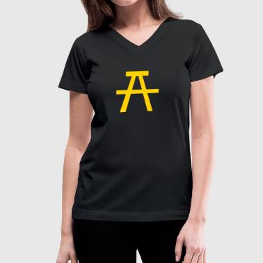 picnic table seat  side view symbol - Women's V-Neck T-Shirt