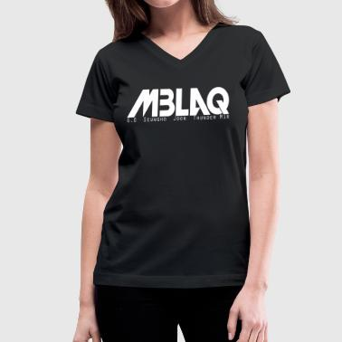 MBLAQ Member's Names in White Women's V-Neck - Women's V-Neck T-Shirt