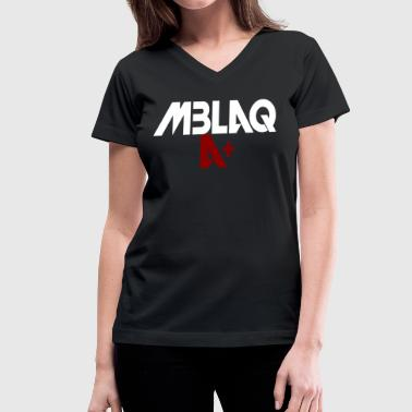 MBLAQ A+ in White/Red on Women's Hoodie - Women's V-Neck T-Shirt