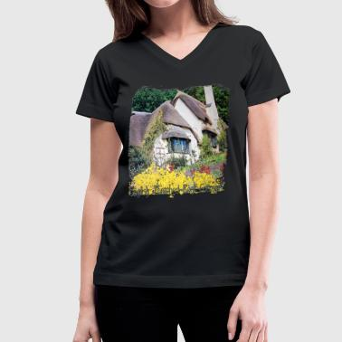 Cottage an_english_cottage - Women's V-Neck T-Shirt
