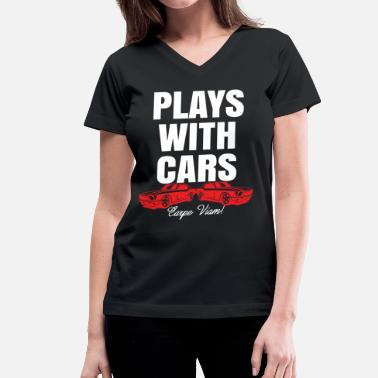 Father Car Plays With Cars - Women's V-Neck T-Shirt