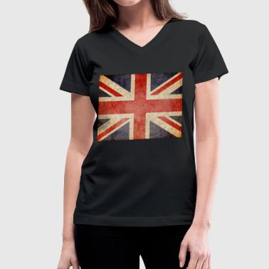 Faded UK Flag - Women's V-Neck T-Shirt