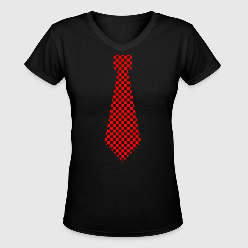Tie red karo - Women's V-Neck T-Shirt
