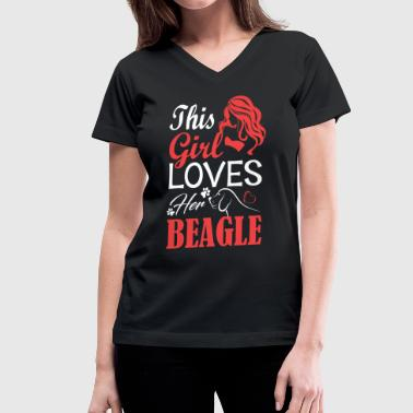 Girl Loves Her Beagle - Women's V-Neck T-Shirt