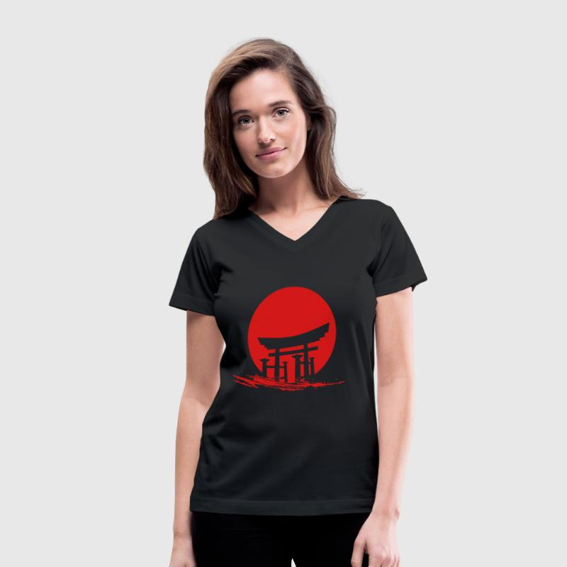 Japanese Sun - Women's V-Neck T-Shirt