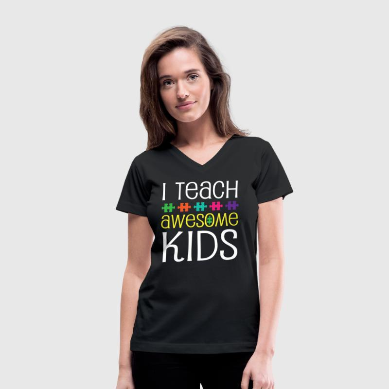 Autism Teacher Awareness Support - Women's V-Neck T-Shirt