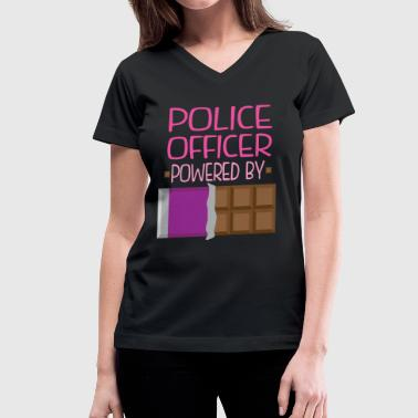 Police Officer chocolate - Women's V-Neck T-Shirt