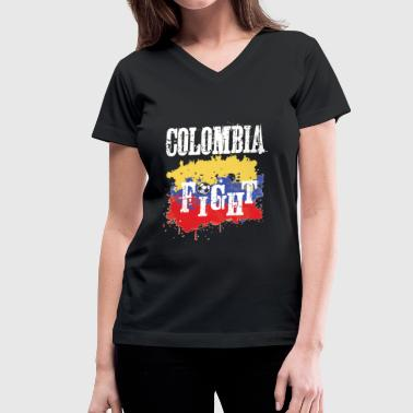 Soccer Football Championship Goal Nation Penalty Colombia - Women's V-Neck T-Shirt