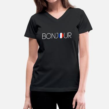 French Words bonjour - Women's V-Neck T-Shirt