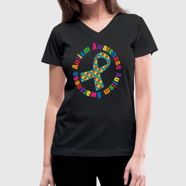 Autism Awareness Puzzle Ribbon - Women's V-Neck T-Shirt