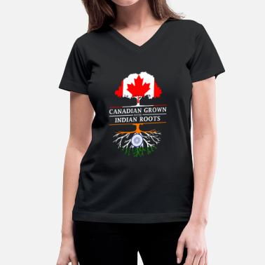 Canadian Indian Canadian Grown with Indian Roots India Design - Women's V-Neck T-Shirt