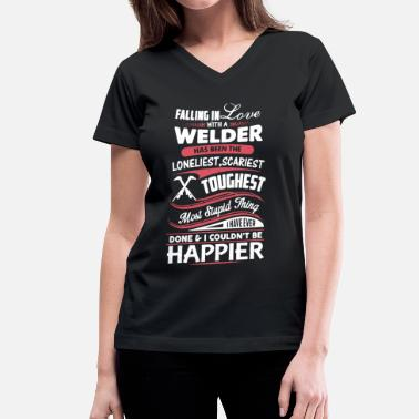 Fall Fall In Love With Welder - Women's V-Neck T-Shirt