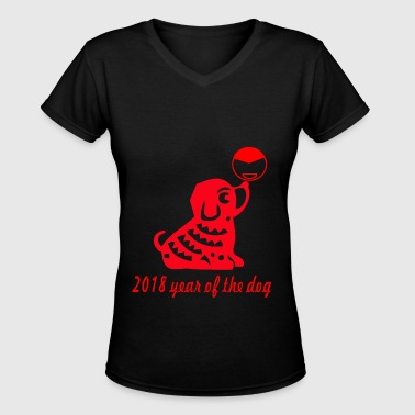 year of the dog FUN - Women's V-Neck T-Shirt