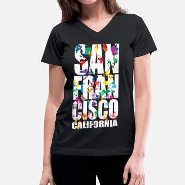 San Francisco san_francisco_city_air_brush - Women's V-Neck T-Shirt