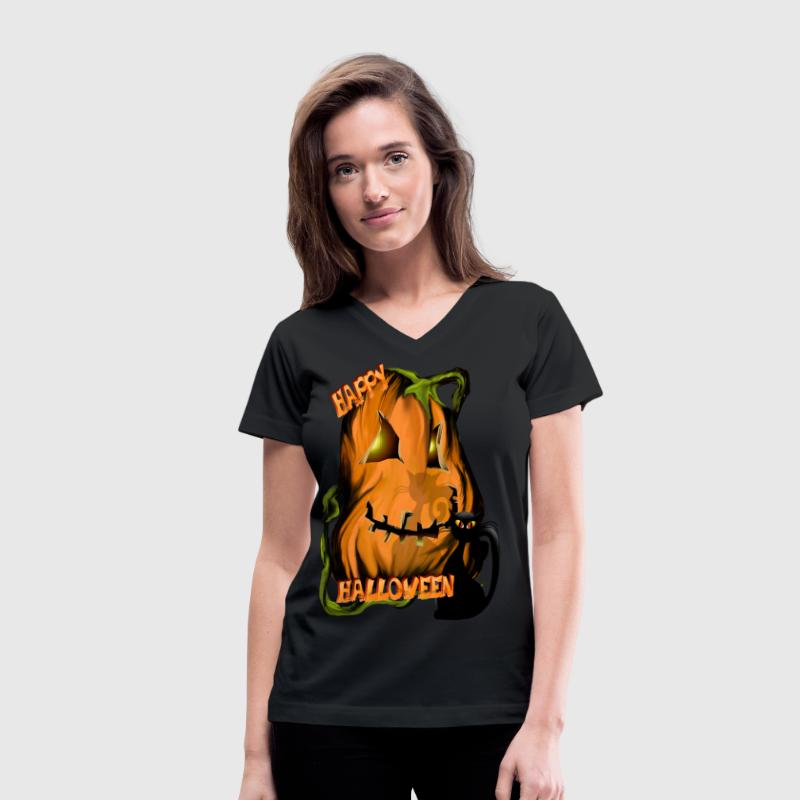 Fat Pumpkin and Black Kitty  - Women's V-Neck T-Shirt