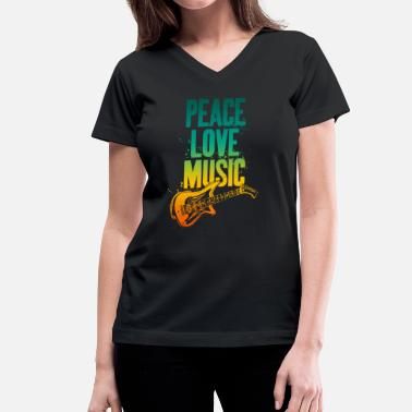 Peace And Music Guitar Hippie Peace Love Music guitar gift birthday vibes - Women's V-Neck T-Shirt