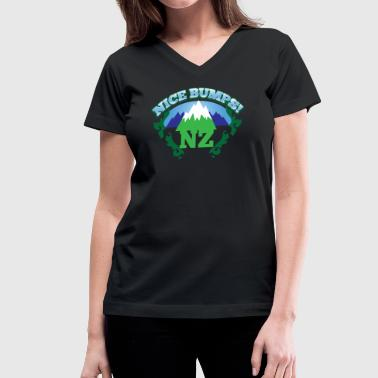 Boobs Mountain NZ New Zealand NICE BUMPS (mountains) - Women's V-Neck T-Shirt