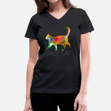 Cat Cosmos Space Cat - Women's V-Neck T-Shirt