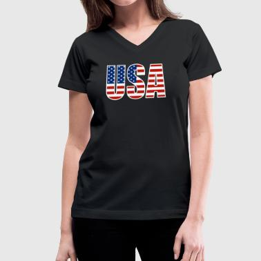 USA American Flag - Women's V-Neck T-Shirt