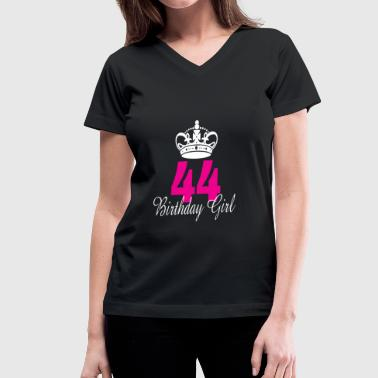 44 Years Old Birthday Girl 44 Years Old - Women's V-Neck T-Shirt