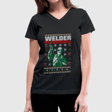 Ugly Christmas Welder Welder Christmas Ugly Sweater - Women's V-Neck T-Shirt