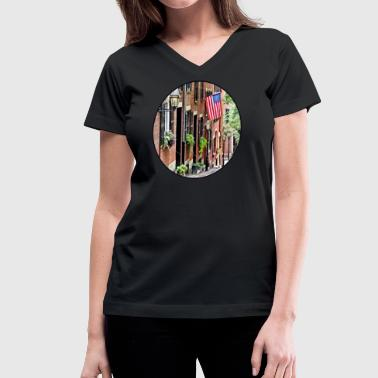 Boston MA - Acorn Street - Women's V-Neck T-Shirt