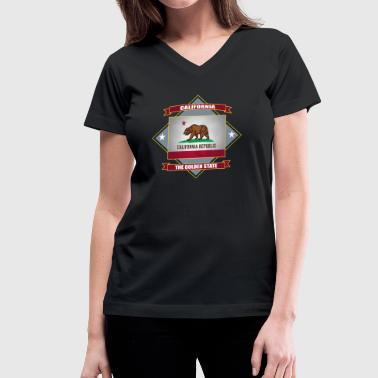 CALIFORNIA Republic The Golden State - Women's V-Neck T-Shirt
