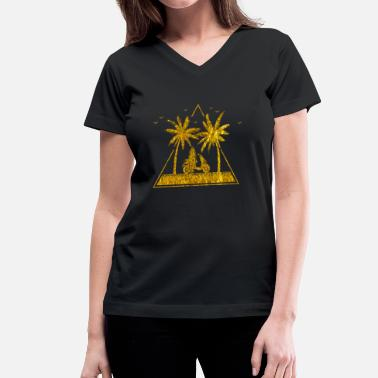 Gold Beach Gold Summer Beach Palm Trees Scooter Surfboard - Women's V-Neck T-Shirt