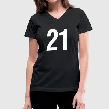 helvetica number 21 - Women's V-Neck T-Shirt