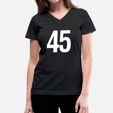Lucky Number helvetica number 45 - Women's V-Neck T-Shirt