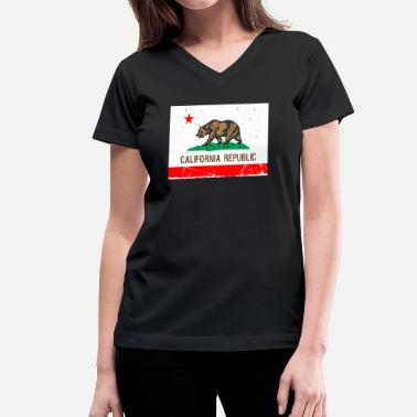 Vintage California California Vintage Flag R&B - Women's V-Neck T-Shirt
