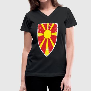 Macedonia Flag Flag of Macedonia - Women's V-Neck T-Shirt