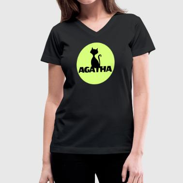 Agatha Name First name Name Motif name day - Women's V-Neck T-Shirt