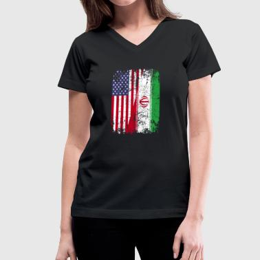 Iran Mens IRANIAN ROOTS | American Flag | IRAN Gift - Women's V-Neck T-Shirt