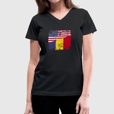 Romanian Flag ROMANIAN ROOTS | American Flag | ROMANIA - Women's V-Neck T-Shirt