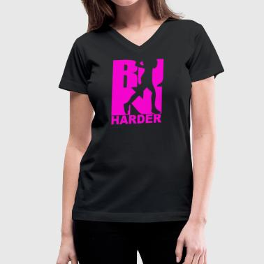RUN Harder gym workout - Women's V-Neck T-Shirt