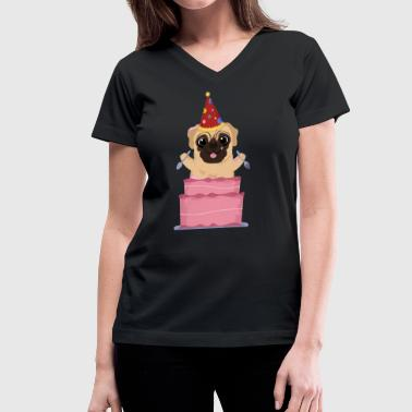 Happy Birthday Pug! - Women's V-Neck T-Shirt