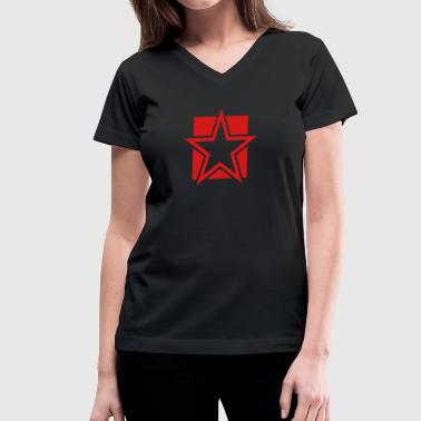 Funky Star funky red star on a square - Women's V-Neck T-Shirt