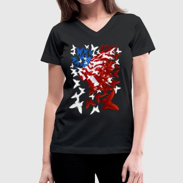 The Butterfly Flag - Women's V-Neck T-Shirt
