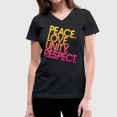 Peace Love Unity Respect (PLUR) - Women's V-Neck T-Shirt