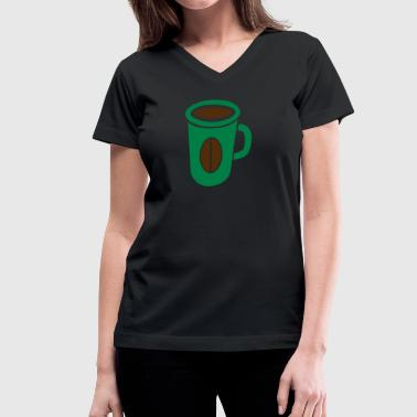 green coffee cup with bean - Women's V-Neck T-Shirt